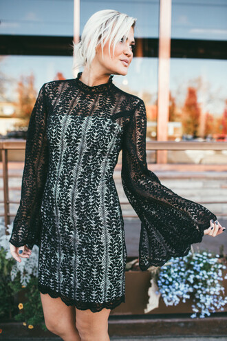 dress tumblr bell sleeves mini dress black lace dress lace dress see through see through dress new year dresses holiday season holiday dress blonde hair