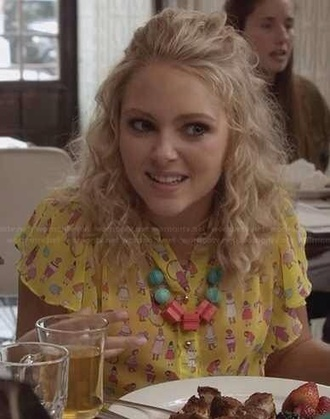 blouse yellow print season2 episode5 cool colorful carrie bradshaw thecarriediaries