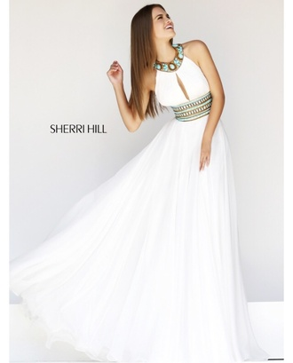dress white dress blue jewels green jewels sherri hill