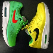 shoes,air max,nike running shoes,nike air max 90 hyperfuse,green,yellow,sneakers