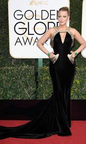 dress,blake lively,blake lively dress,blake lively gown,golden globe awards,little black dress,black dress