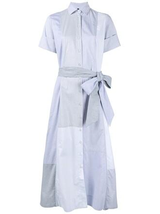 dress shirt dress patchwork cotton blue