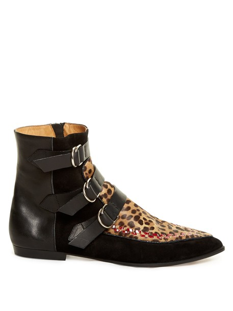 Isabel Marant suede ankle boots hair ankle boots leather suede black shoes