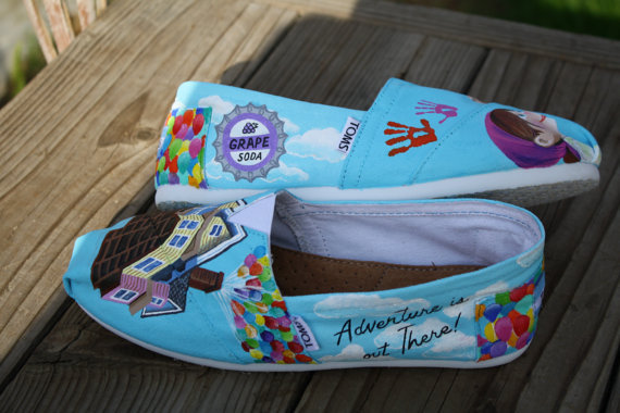 UP Carl and Ellie Original Custom Acrylic Painting for Toms Shoes on Wanelo