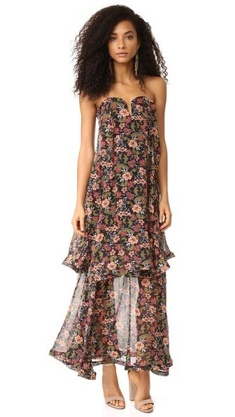dress bow dress bow strapless floral black