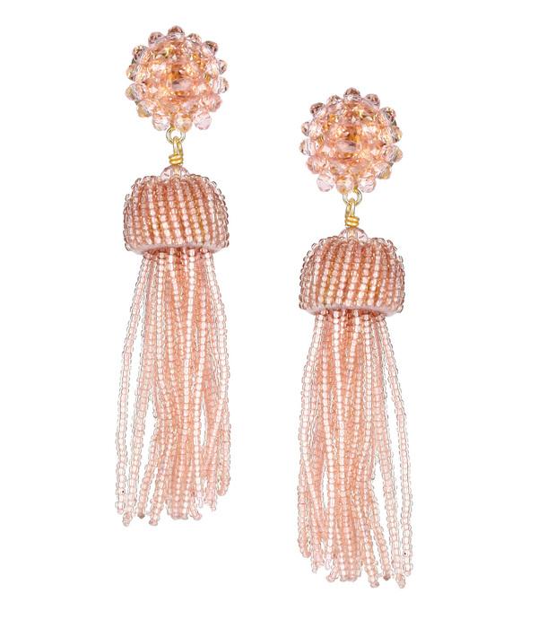 Tassel Earring - Clear Pink