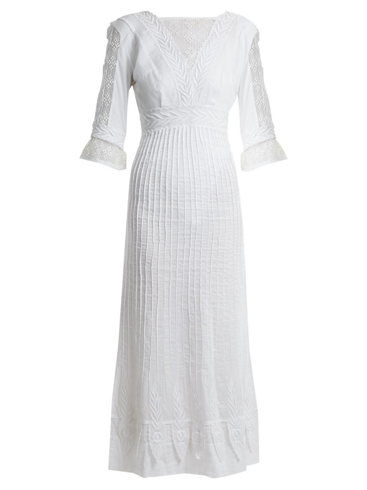 TALITHA Edwardian floral-embroidered cotton dress in white