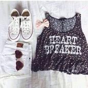 tank top,shirt,flowers,pink,heart breaker,t-shirt,black tank top,black and white,converse,white high waist shorts,blouse,top,sunglasses,shorts,shoes