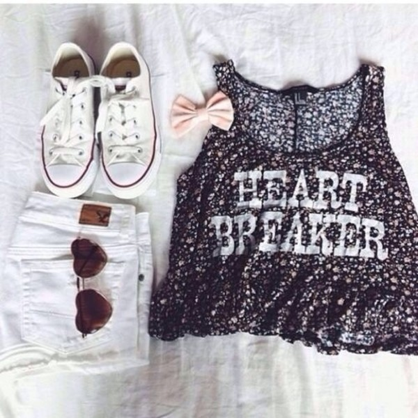 tank top t-shirt black tank top shirt heart breaker black and white converse white high waist shorts blouse top sunglasses shorts shoes