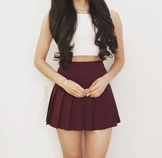 top crop tops cute outfits burgundy white crop tops skater skirt circle skirt burgundy skirt pleated skirt skirt outfit wine read dress marroon