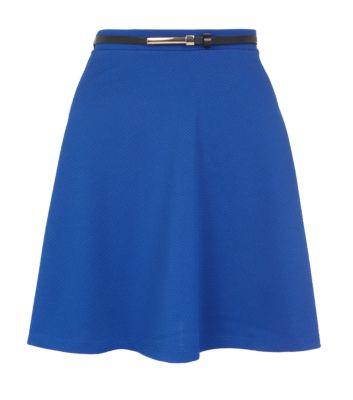 Blue Metal Plate Belted Waffle Skater Skirt
