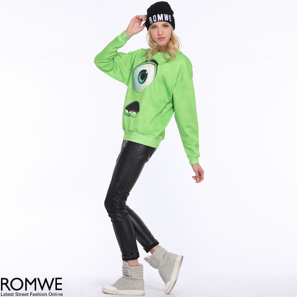 ROMWE | Green Monster Print Sweatshirt, The Latest Street Fashion