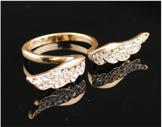 Vintage Fashion Korean Style Angel Wing Gold Plated Crystal Retro Lovely Rings | eBay