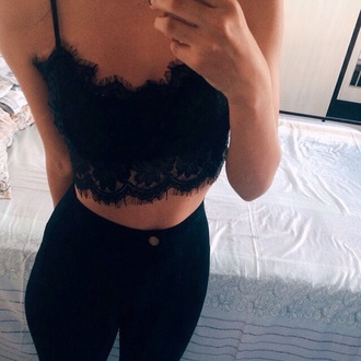 shirt black crop top black pants pants