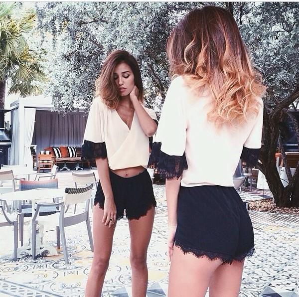 shirt ashley sky nude lace top v-neck shirt pants blouse