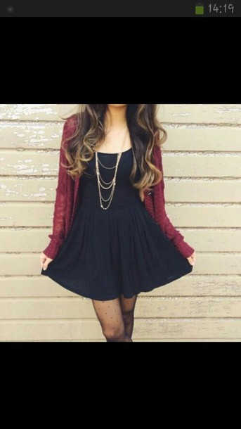 dress jewels cardigan black dress classy beautiful red tights little black dress blouse black heels bikini red dress hat sunglasses headband cute dress dress burgundy sweater burgundy fall outfits fall sweater fall fashoin black little dress skater dress black skater dress