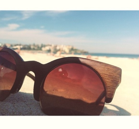 wood sunglasses cool hipster beach