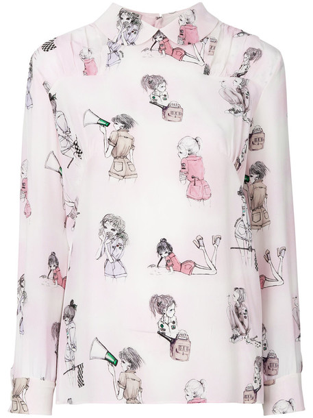 Miu Miu shirt women lady print silk purple pink top