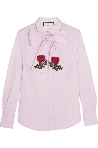 blouse bow embroidered cotton pink top