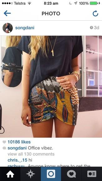 print style skirt colorfull songdani