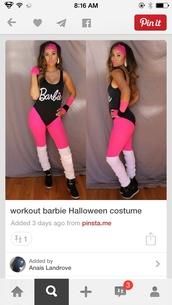 jumpsuit,top,workout,barbie,leotard,costume,black,pink,knee high socks,black sneakers,halloween,black barbie jump suite