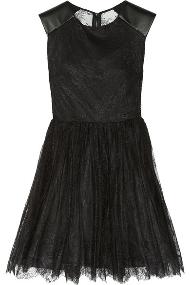 Alice   Olivia | Shelly leather-trimmed lace dress | NET-A-PORTER.COM