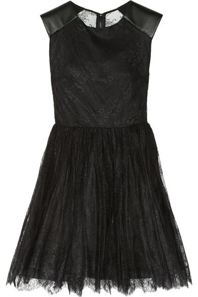 Alice   Olivia|Shelly leather-trimmed lace dress|NET-A-PORTER.COM