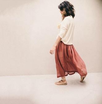 skirt blouse sweater maxi skirt marron