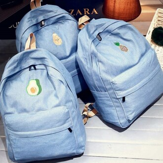 bag blue fruits back to school backpack cool teenagers boogzel