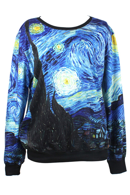 ROMWE | ROMWE Starry Sky Print Long-sleeved Sweatshirt, The Latest Street Fashion