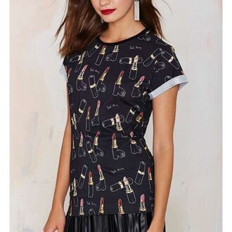t-shirt yeah bunny girly black lipstick red lipstick folded sleeves roll-up sleeves