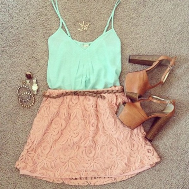 Skirt Rose Tank Top Crop Tops Tumblr Outfit Girly Outfits Tumblr Weheartit Shoes - Wheretoget