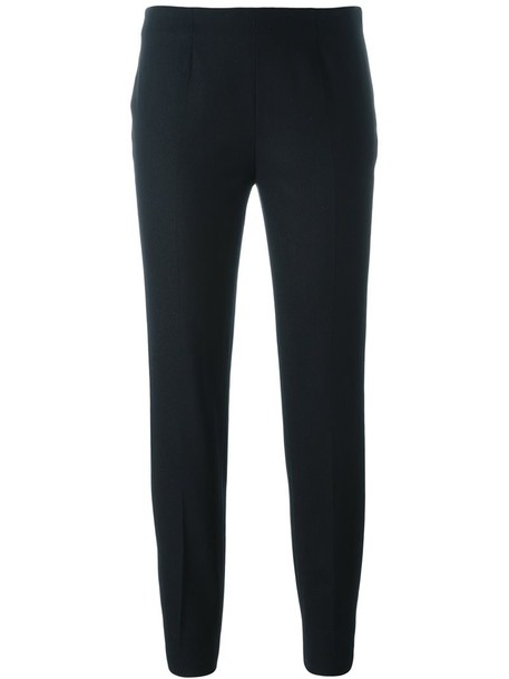 Piazza Sempione cropped women spandex fit black wool pants