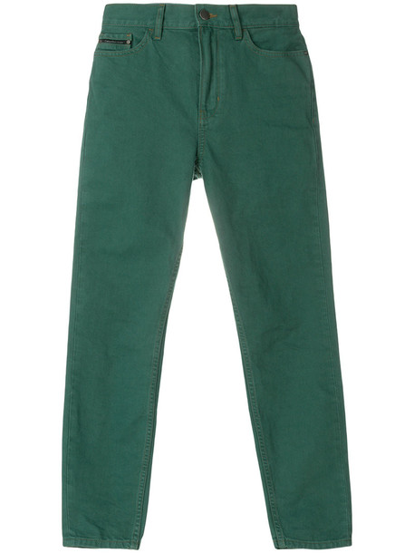 jeans cropped women cotton green