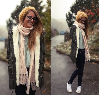 coat grey army green jacket winter outfits hoodie jacket warm zip-up hat scarf cute sweater white fur army green winter coat dark yellow beanie pink scarf long scarf knitted scarf shirt baby blue sweater knitted sweater
