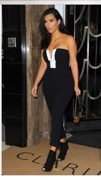 61153aaccf38 jumpsuit black and white jumpsuit kim kardashian