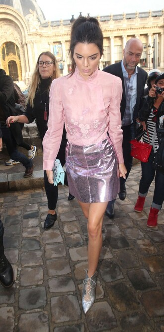blouse pink metallic skirt fashion week pumps kendall jenner