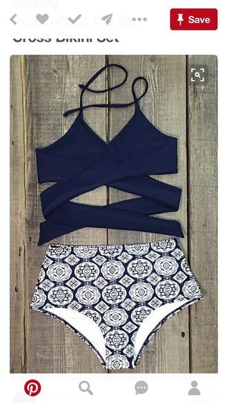 swimwear strappy bikini high waisted bikini navy black bikini
