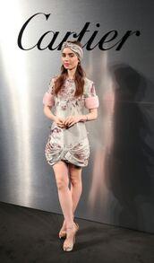 dress,lily collins,mini dress,sandals,shoes