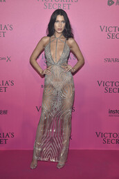 dress,gown,prom dress,bella hadid,victoria's secret,victoria's secret model,plunge dress,glitter dress,see through dress