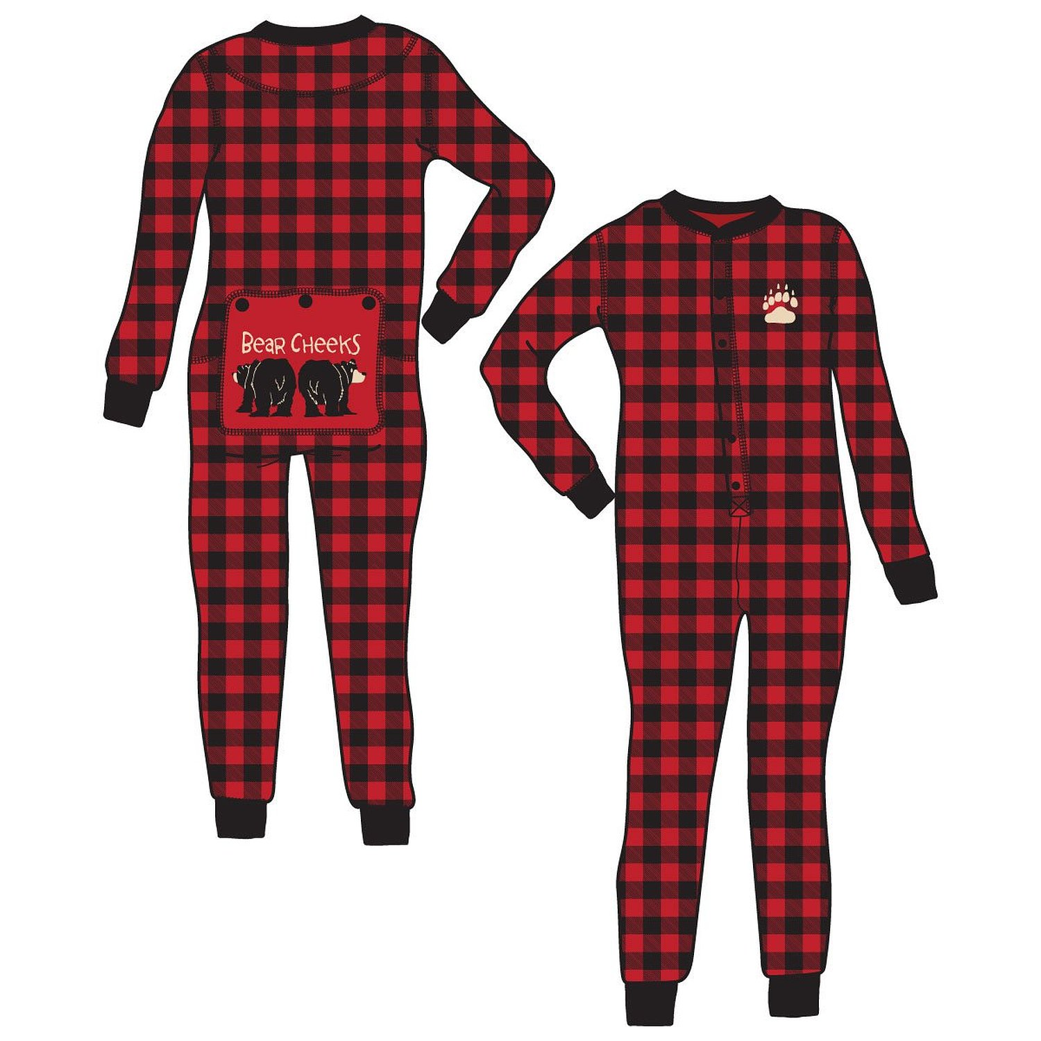 Amazon.com: Bear Cheeks Red & Black Plaid FlapJacks Lazy One Sizes in Adults, Childs, Infant: Clothing
