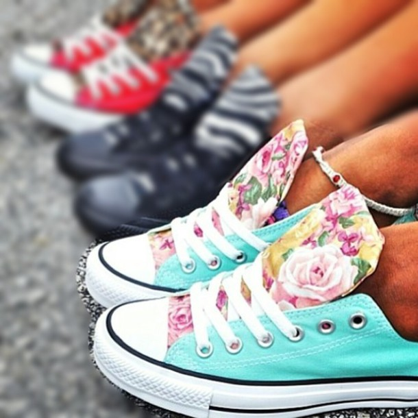 d3768d071960 shoes turquoise floral flowers converse