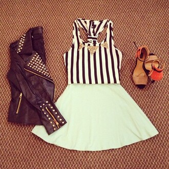 dress stripes black and white studded leather jacket tumblr pretty necklace heels