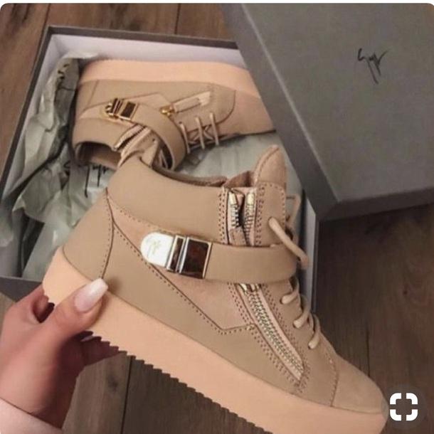 shoes sneakers brown beige high top sneakers