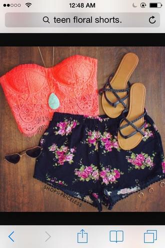 blouse orange pink crop top bustier lace bustier