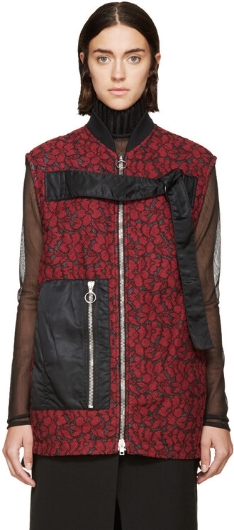 vest quilted lace black red jacket