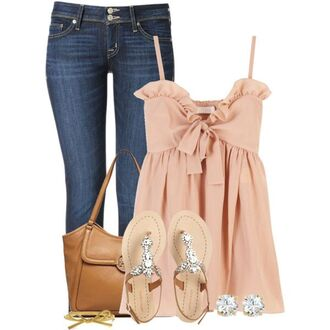 blush pink bows ruffle date outfit summer top shirt