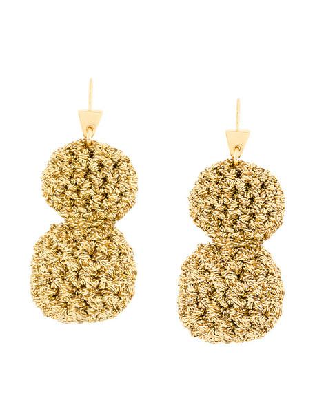 LUCY FOLK rock metal women earrings gold grey metallic jewels