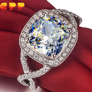 Cpp brand luxury quality 3ct cushion cut nscd synthetic diamond wedding engagement ring for woman,birthday gift,proposal ring