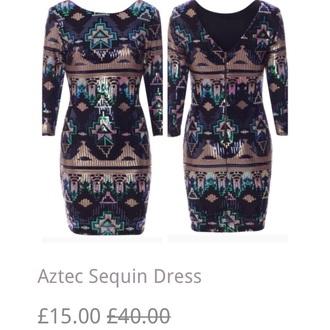 dress aztec sequin cute dress